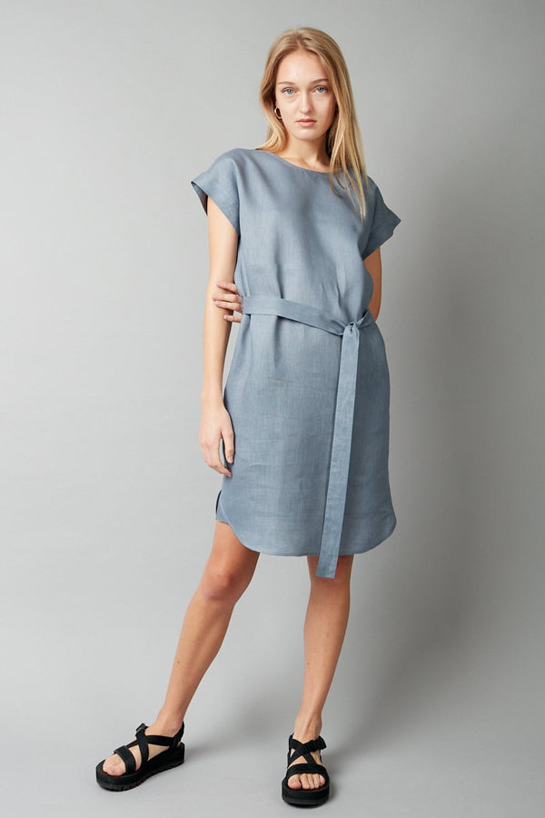 DUSTY BLUE HANAE LINEN DRESS - Nique Clothing