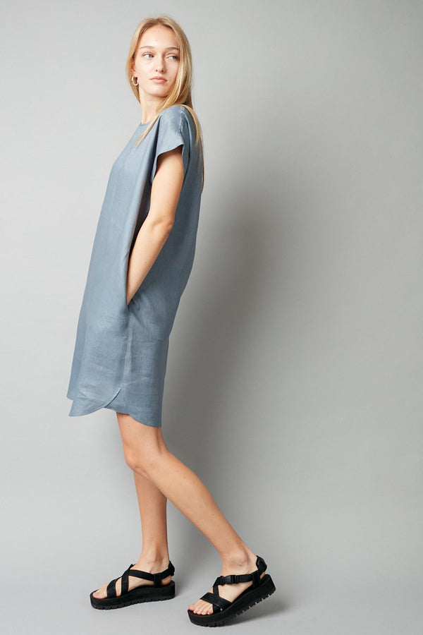 DUSTY BLUE HANAE LINEN DRESS