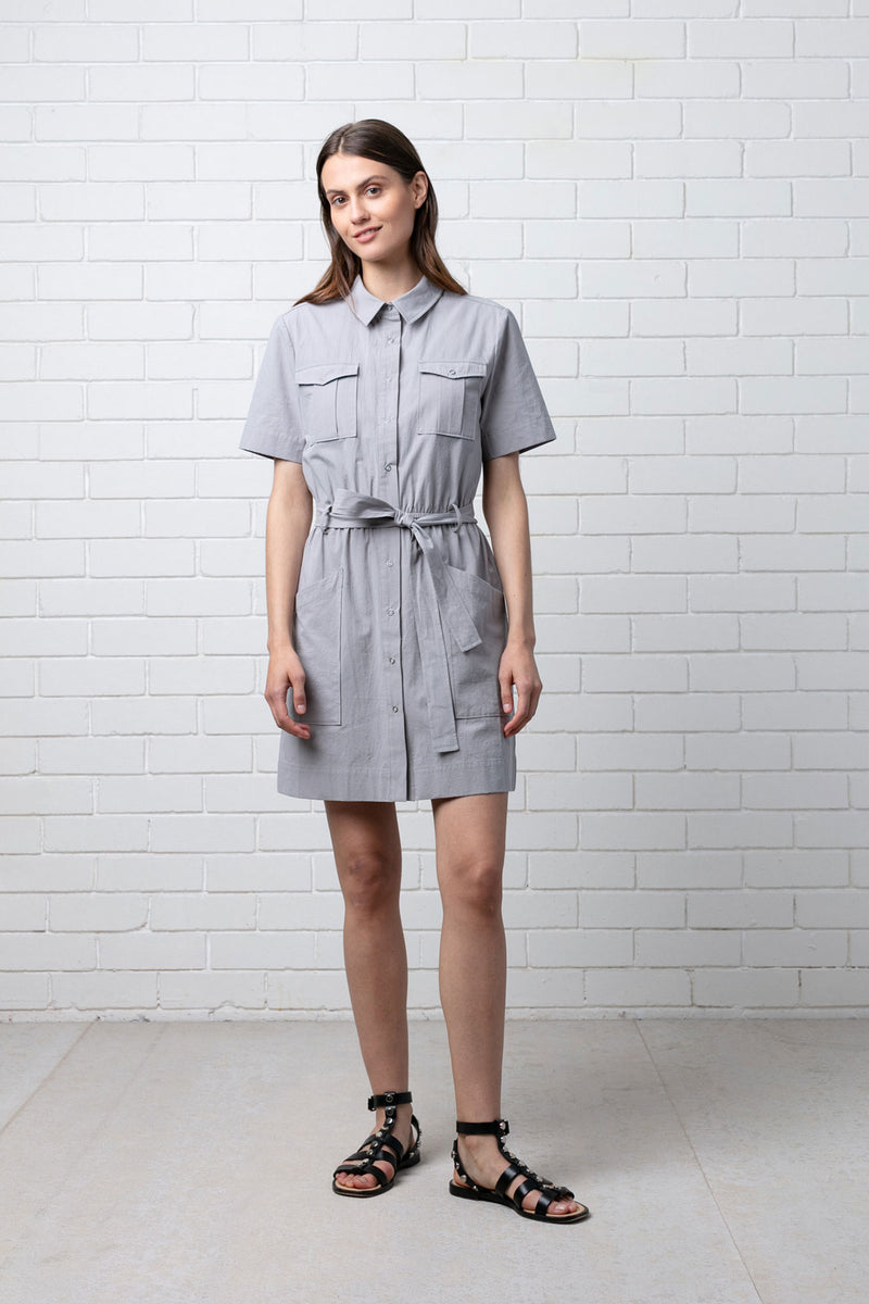 GREY KIMIKO COTTON MINI DRESS