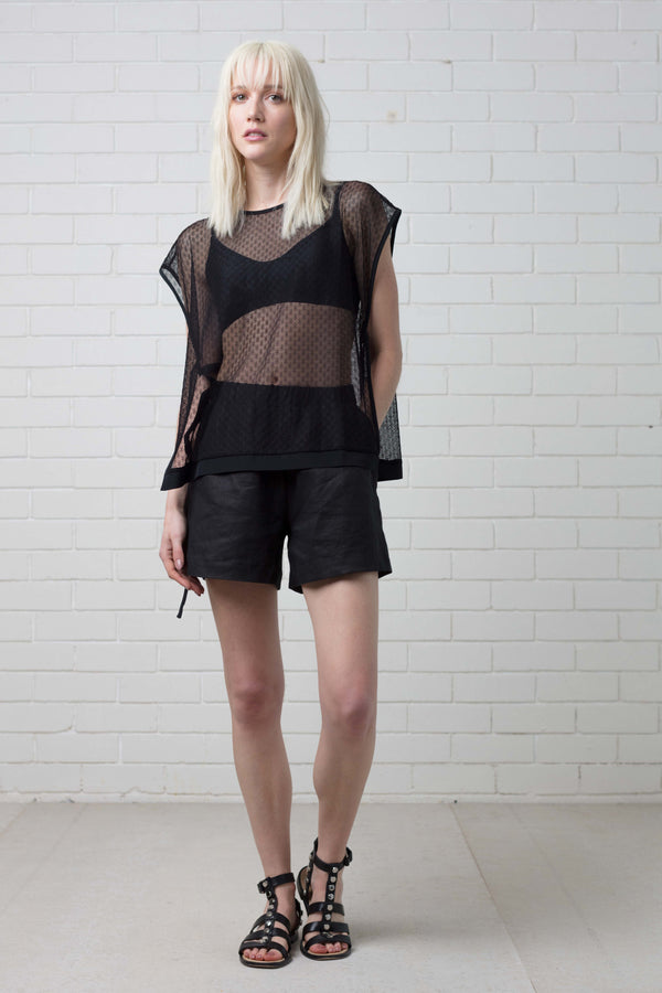 Black Kammi Geometric Lace Top
