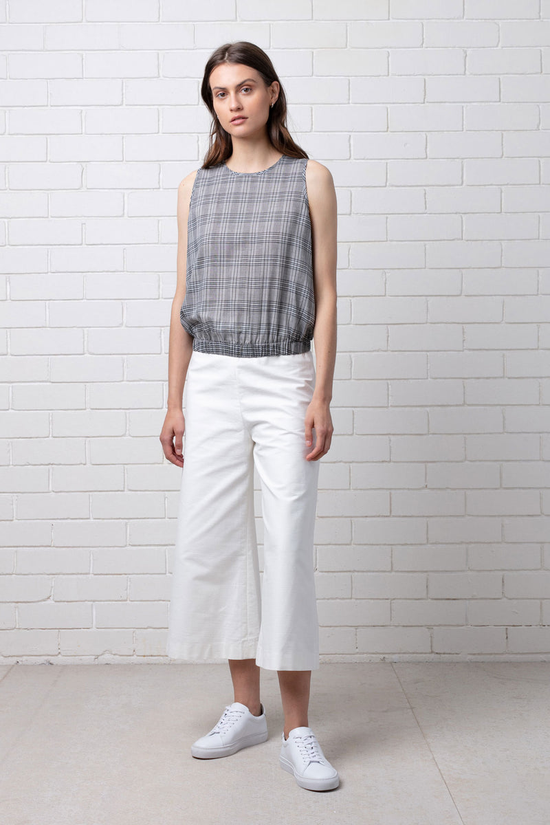 Grey Check Elasticated Waist Short Sleeve Top