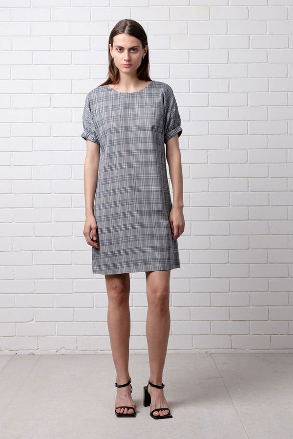Grey Check Puffed Sleeve Dress