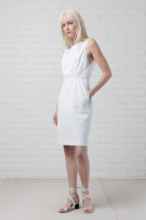 White Striped Jitsuko Cotton Dress