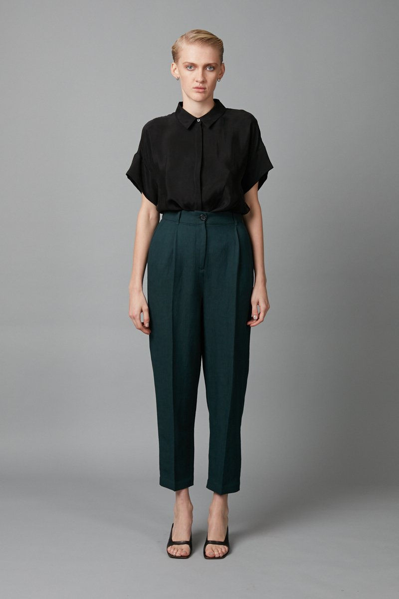 GREEN FLOAT RAYON LINEN PANT