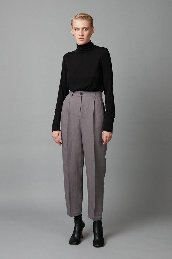 GREY FLOAT RAYON LINEN PANT