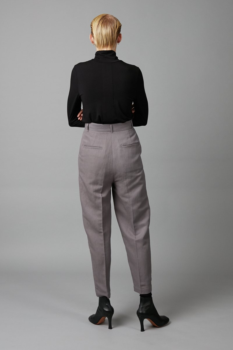 GREY FLOAT RAYON LINEN PANT - Nique Clothing