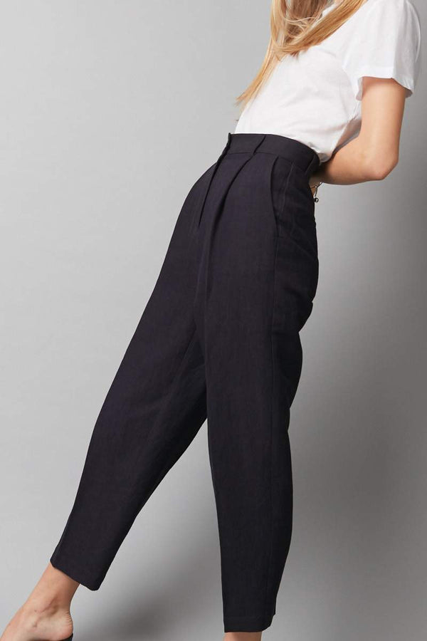 NAVY LINEN FLOAT PANT - Nique Clothing