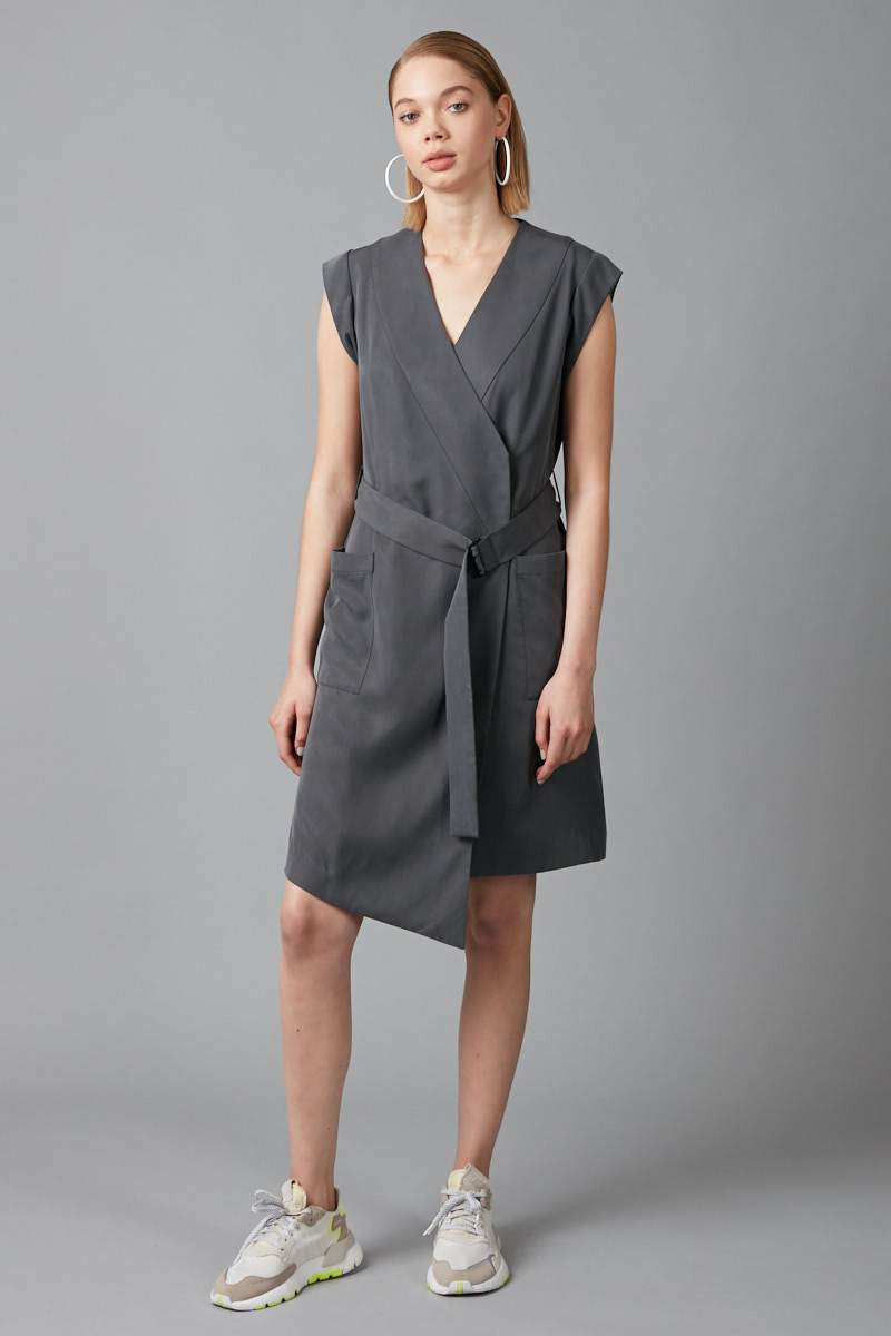 SMOKE KHAKI TENCEL RUMO WRAP DRESS - Nique Clothing