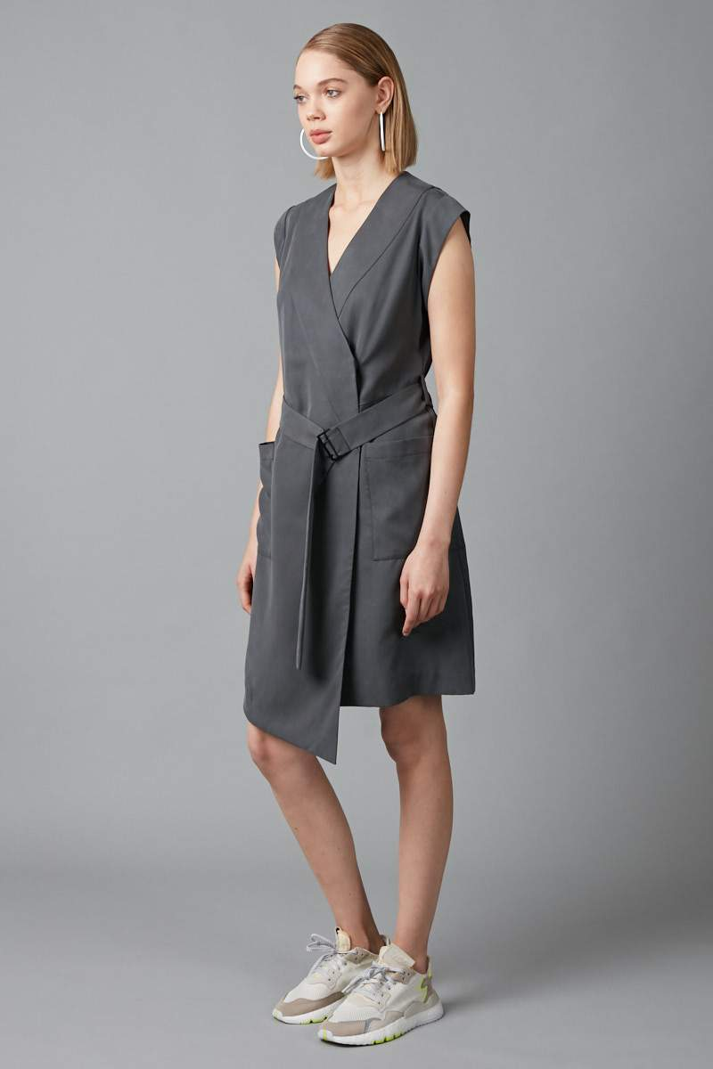 SMOKE KHAKI TENCEL RUMO WRAP DRESS