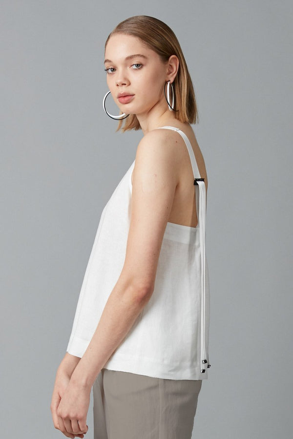 WHITE NINO LINEN TOP - Nique Clothing