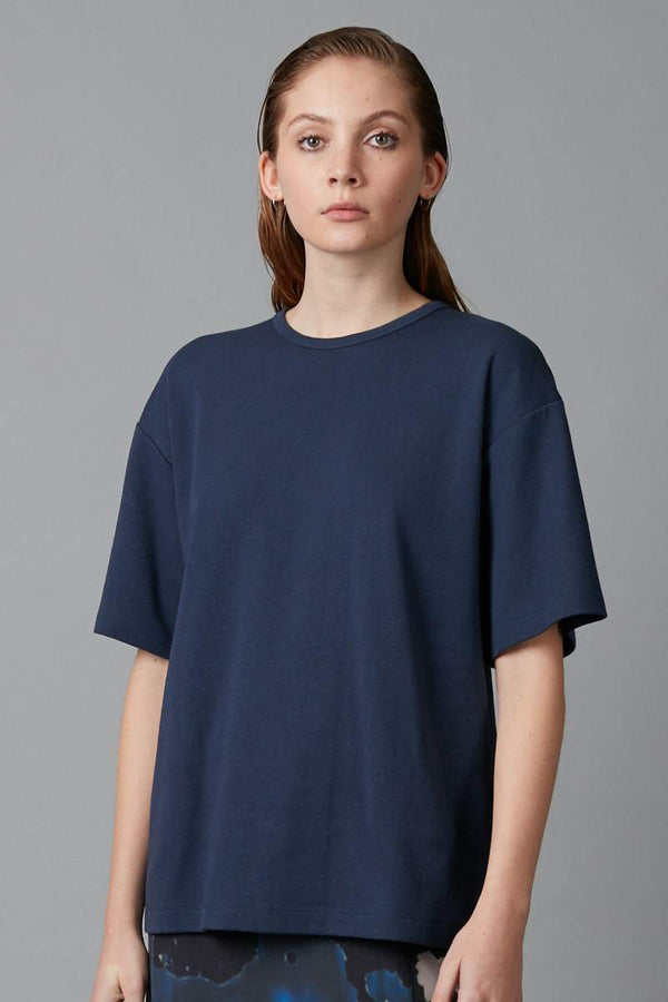 NAVY BOX OVERSIZED COTTON TEE