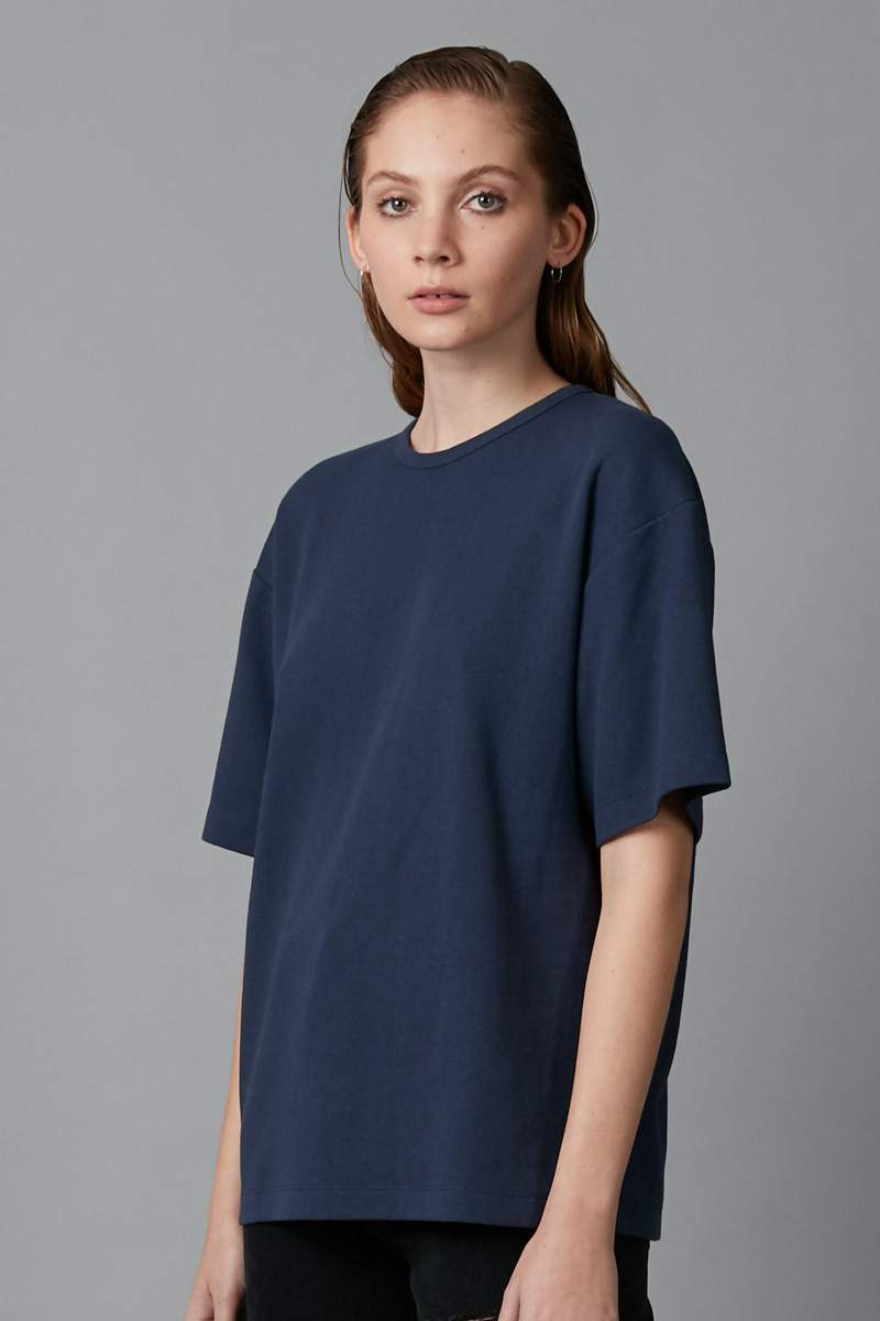 NAVY BOX OVERSIZED COTTON TEE - Nique Clothing