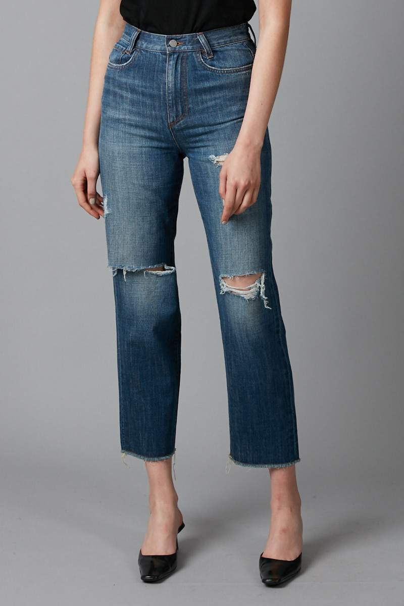 BLUE  LLOYD BOYFRIEND ART WASH DENIM JEANS - Nique Clothing