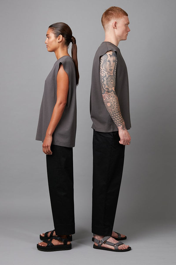 UNISEX SMOKE KHAKI YOSSHI COTTON TANK TEE - Nique Clothing