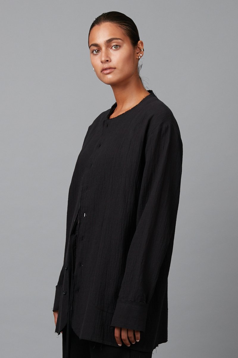 BLACK UNISEX RAKO LONG SLEEVE LINEN OVER-SHIRT