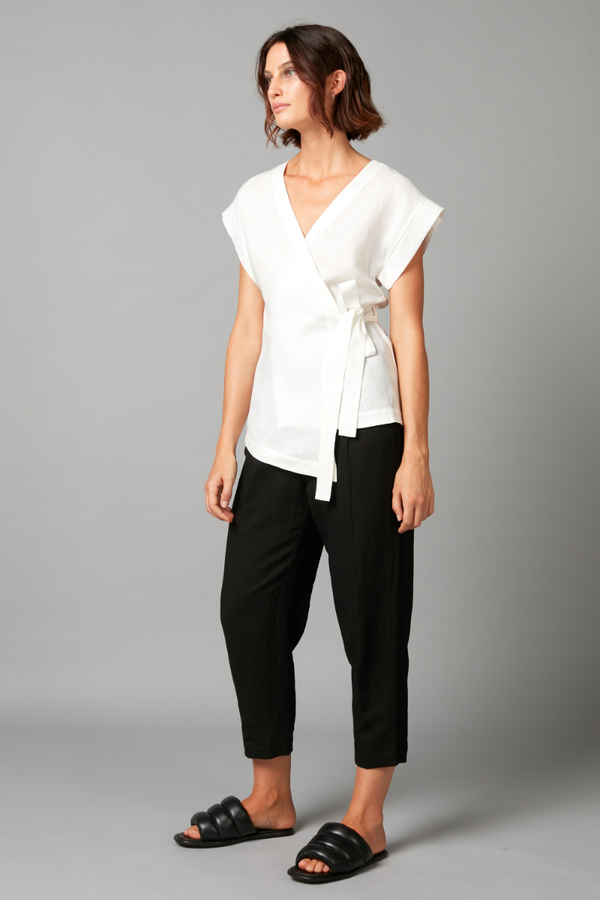 Off White Karo Linen Wrap Top
