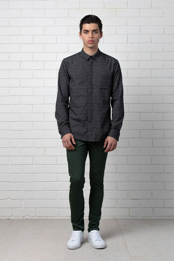 Black White Check Shobu Cotton Long Sleeve Shirt