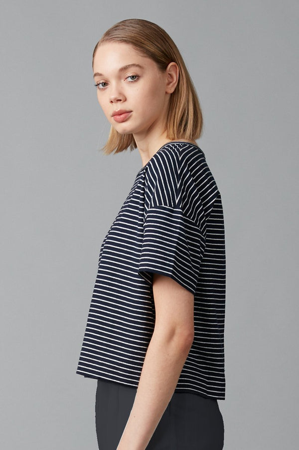 NAVY WHITE STRIPED JOBEN COTTON TEE - Nique Clothing