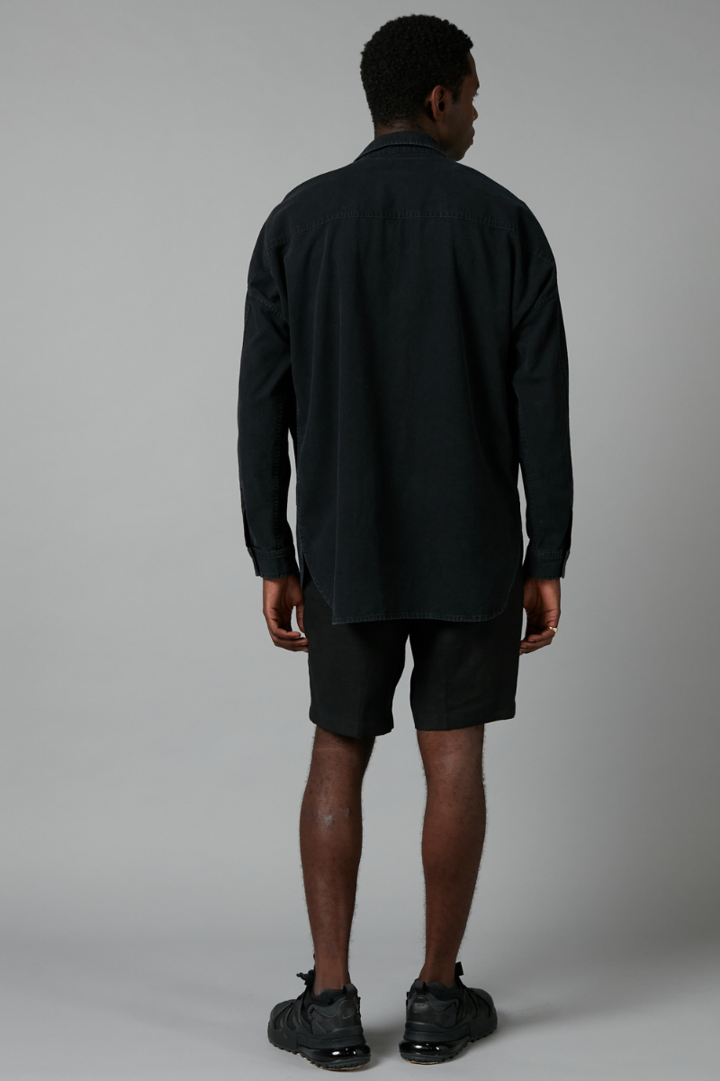 Black Steady Denim Long Sleeve Shirt