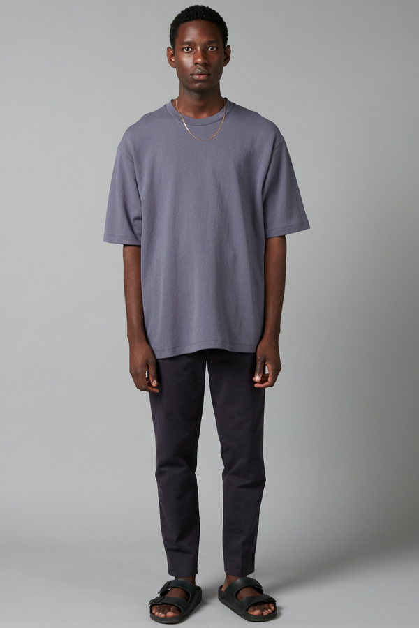 Steel Blue Yosshi Cotton Oversized Tee