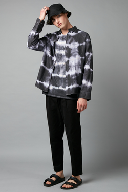 Soft Black Tie Dye Kano Linen Cotton Regular Shirt