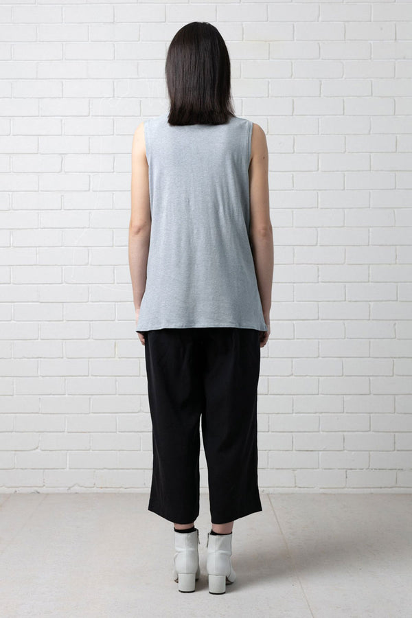 Dove Blue Turrell Hemp Cotton Turtleneck Tank