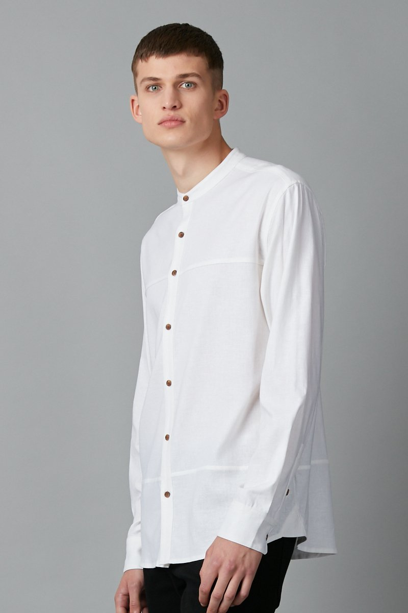WHITE UBUNTU REGULAR MANDARIN COLLAR SHIRT - Nique Clothing