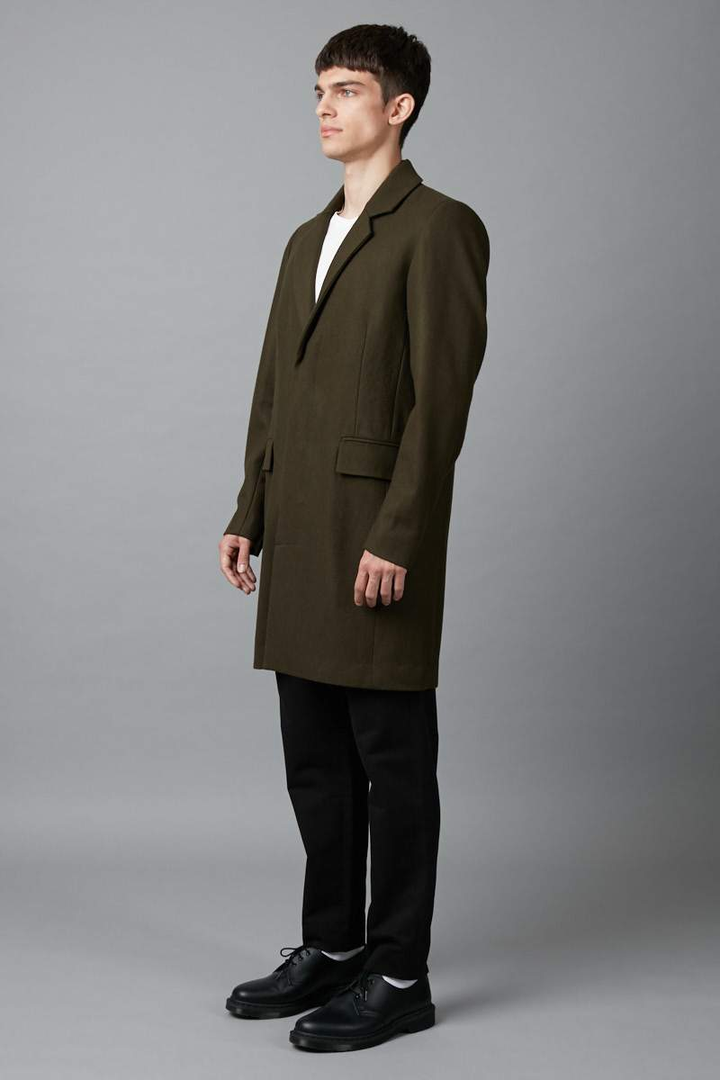 KHAKI UNISEX HARBOUR WOOL COAT - Nique Clothing
