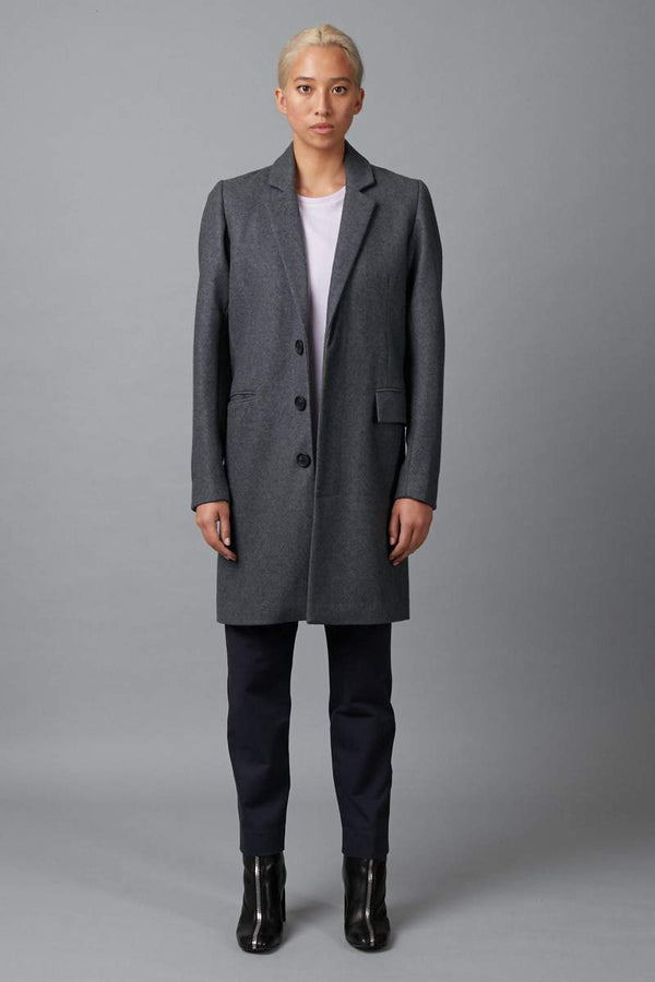 CHARCOAL UNISEX HARBOUR WOOL COAT - Nique Clothing