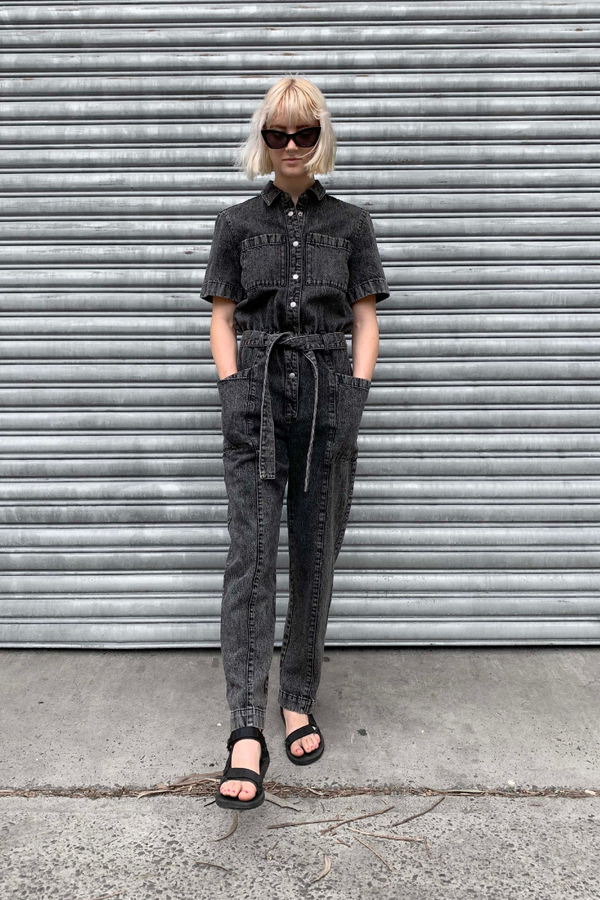 Black Video Wash Dachi Denim Jumpsuit