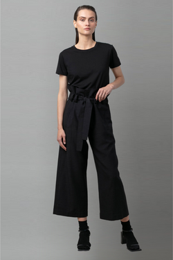 Black Relaation Lyocell Linen Pant