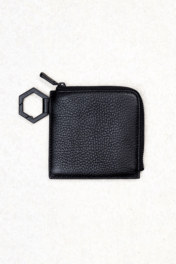 BLACK LEATHER KI COIN PURSE