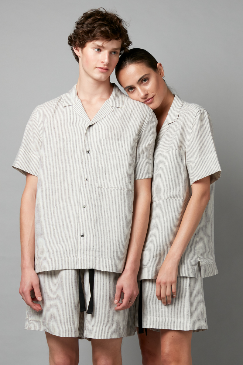 Striped Yasashi Relaxed Linen Shirt