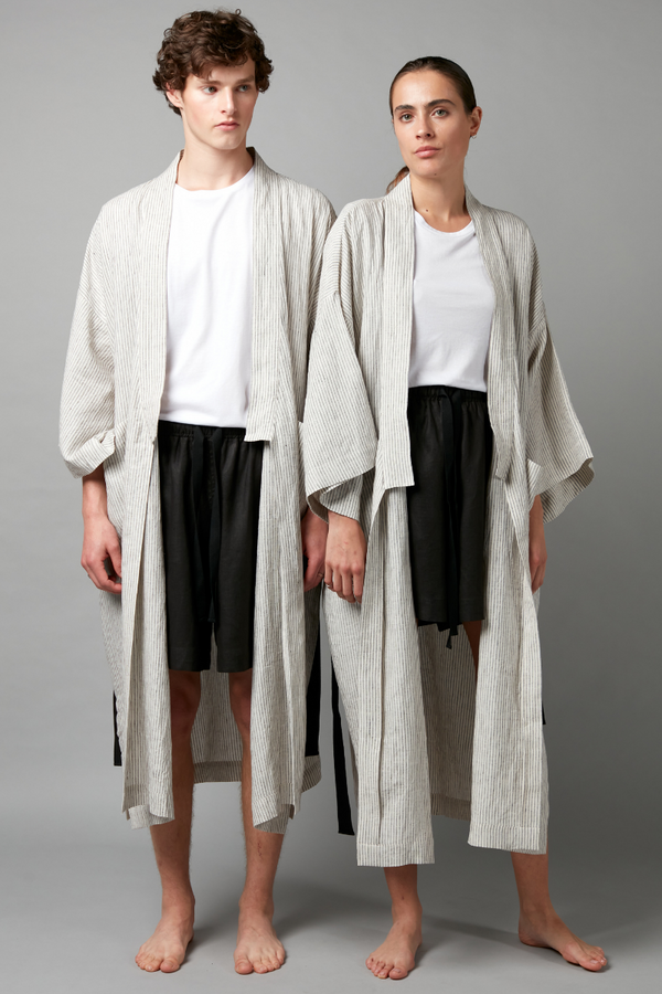 Striped Yasashi Linen Wrap Robe
