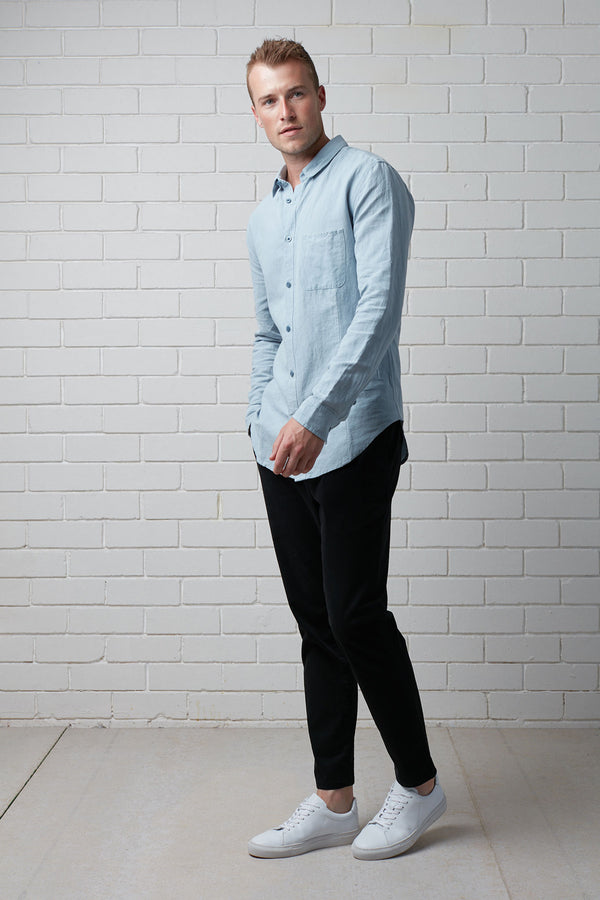 SKY BLUE AOSO LINEN COTTON SHIRT