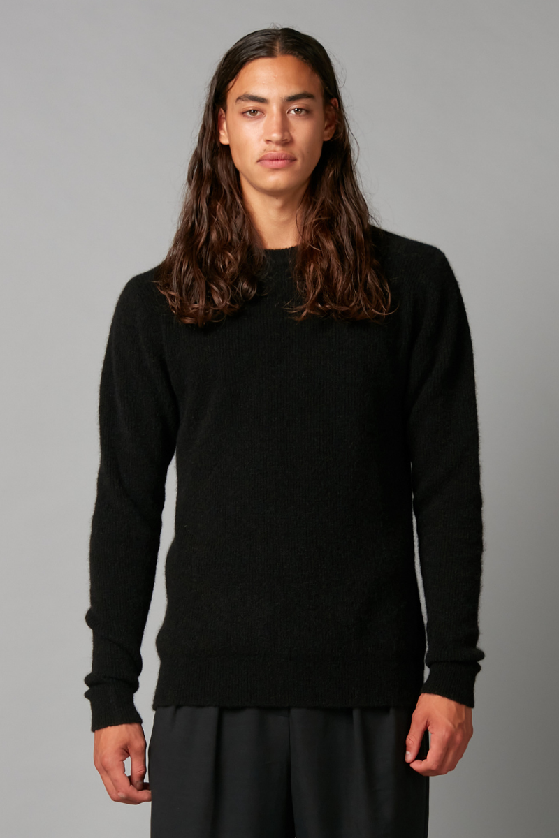 Black Row Mohair-blend Unisex Knit