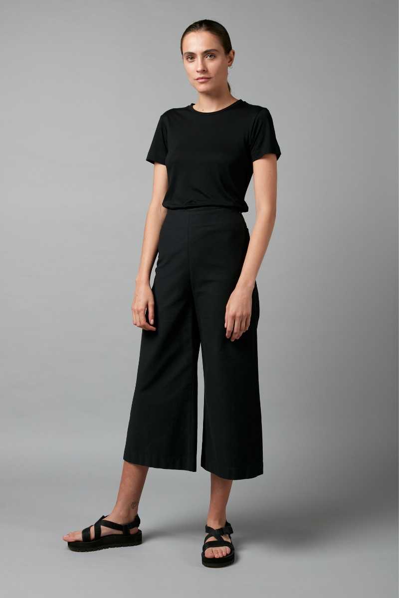 Black Chi Cotton Culotte Pant