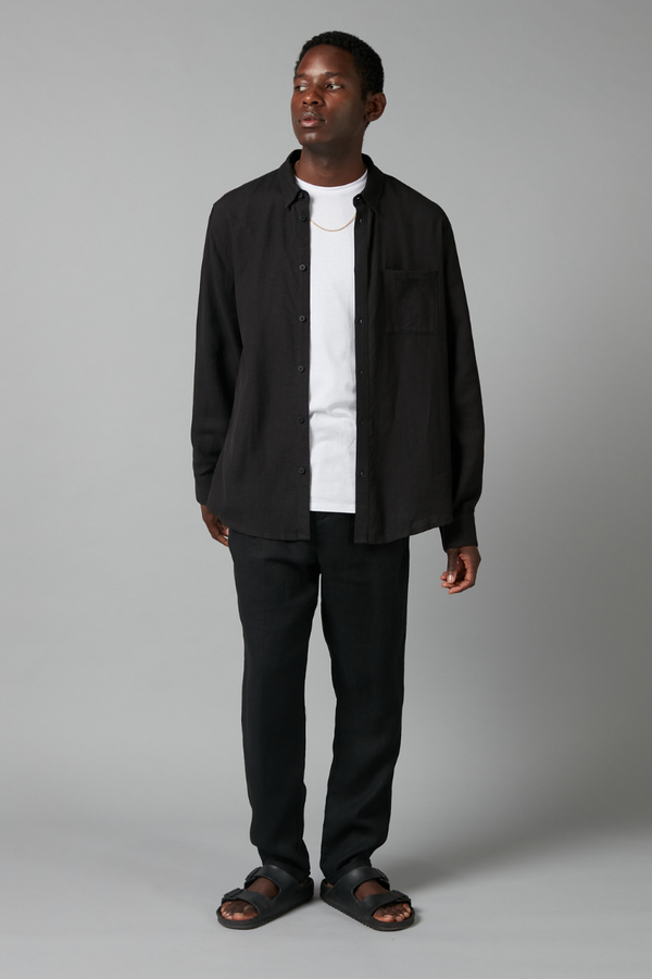 Black Sung Linen Long Sleeve Shirt
