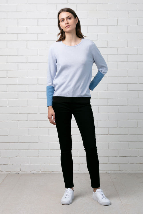 COLOUR BLOCK KNIT - SILVER MULTI