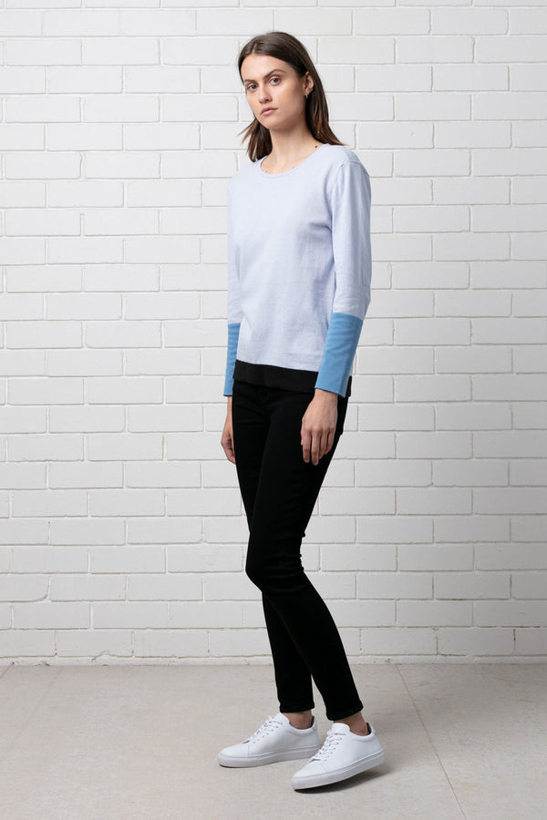 WOMENS COLOUR BLOCK 100% COTTON KNIT