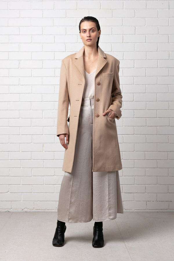 CAMEL SHIZUE WOOL COAT - Nique Clothing