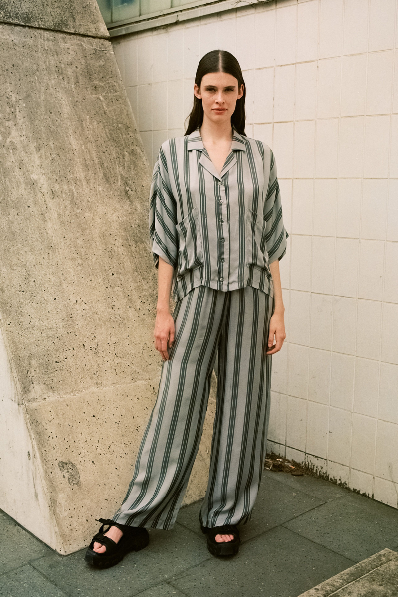 Ash Grey Stripe Escape Wide Pant