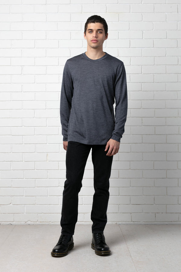 CHARCOAL YOSHIDA MERINO L/SL TEE - Nique Clothing