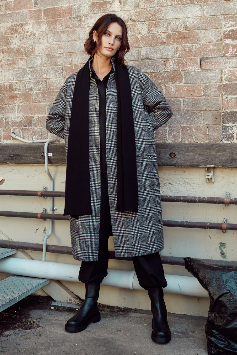 Black + Grey Maaya Unisex Wool-Rich Reversible Coat