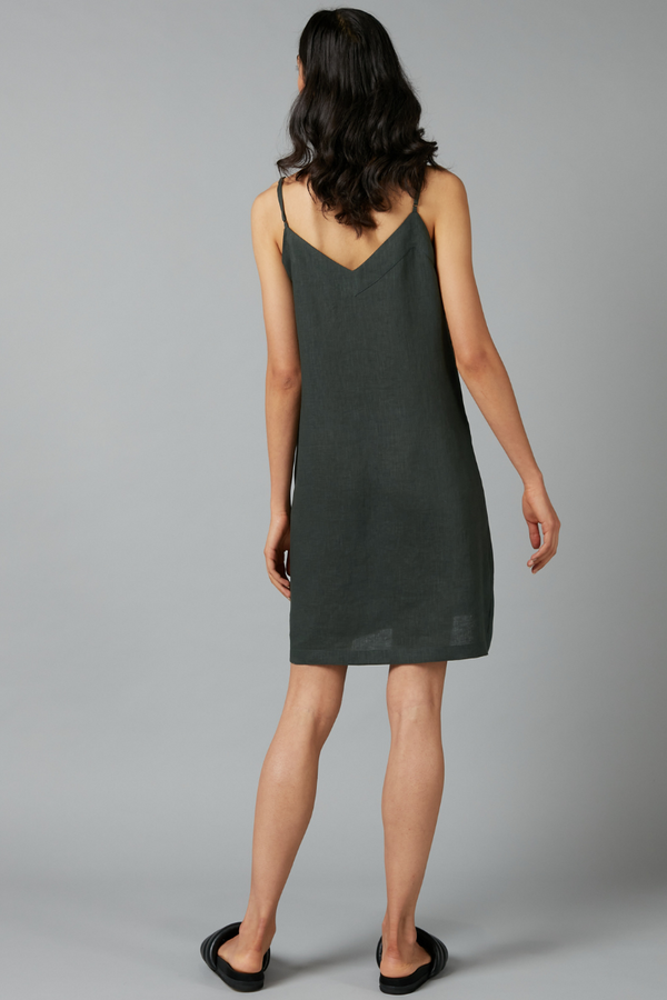 Rich Khaki Glider Linen Mini Dress