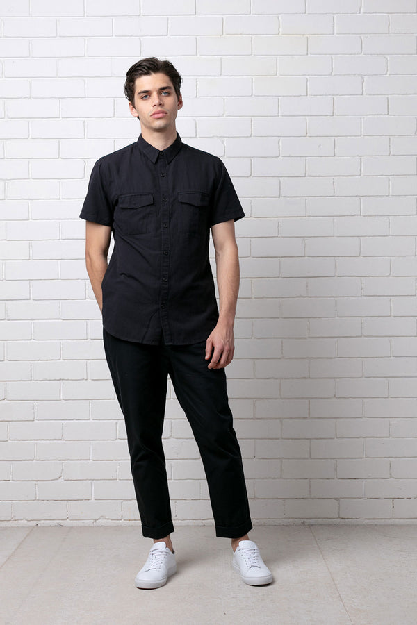 Black Ezaki Lyocell Linen Short Sleeve Shirt