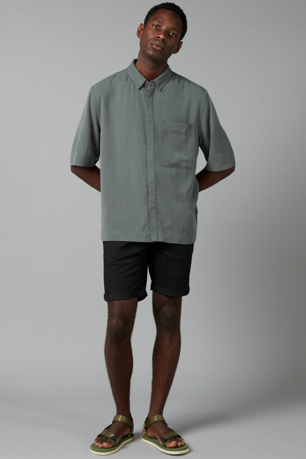 Forest Green Mukai Tencel Linen Short Sleeve Shirt