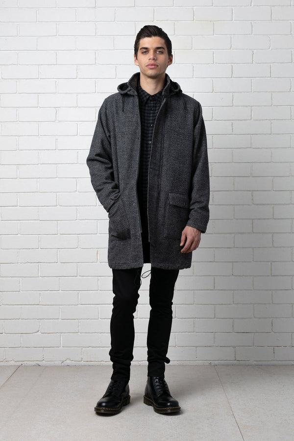 KAMEKO GREY WOOL UNLINED COAT