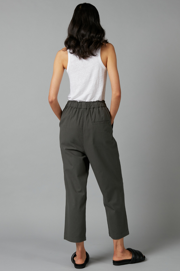 Khaki Ana Gathered Cotton Pant