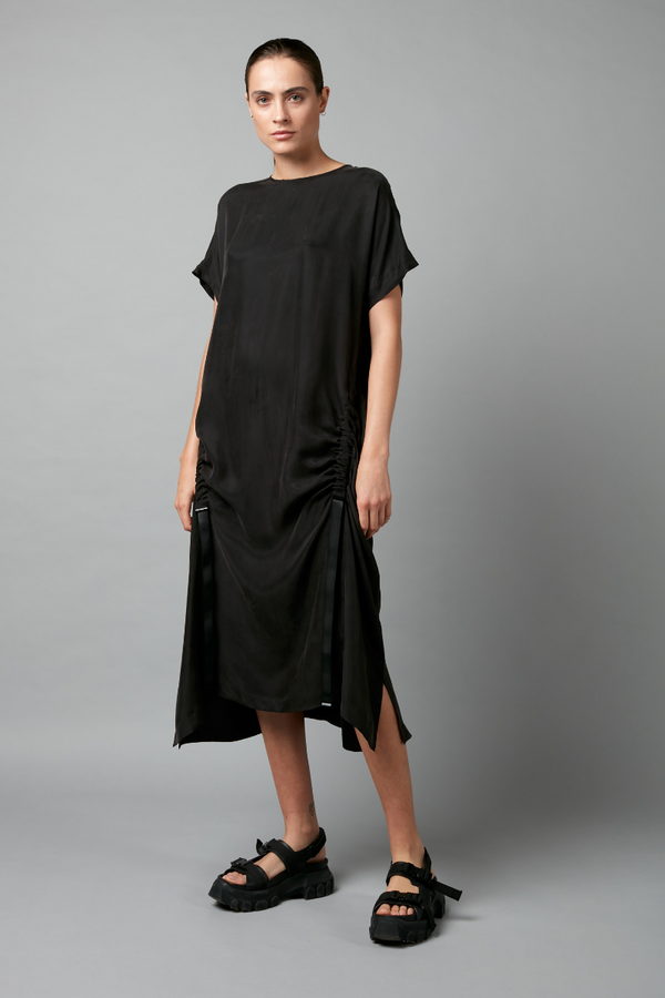Black Kira Tencel Midi Dress